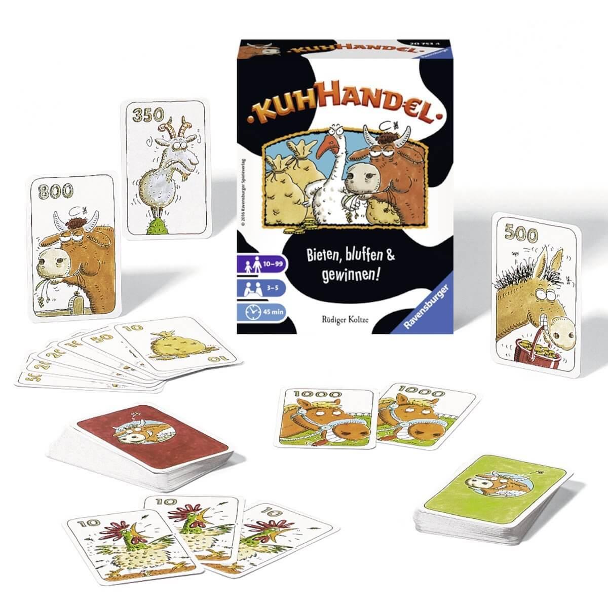 Schachtel mit Spielkarten - Bieten, bluffen & gewinnen!- Kuhhandel