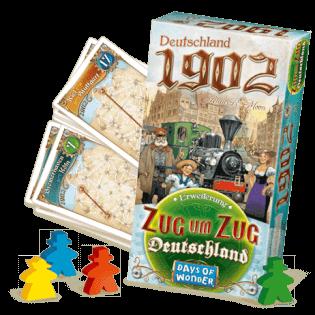 Schachtel mit Spielmaterial- Zug um Zug - Deutschland 1902
