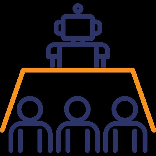 Alle gegen das Spiel-Icon mit Tisch, Spieler/-innen und Roboter
