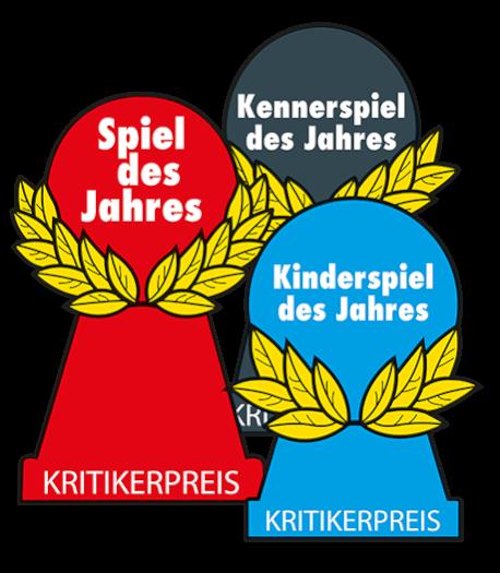 Roter Spiel des Jahres Pöppel mit blauem Kinderspiel des Jahres Pöppel mit schwarzem Kennerspiel des Jahres Pöppel