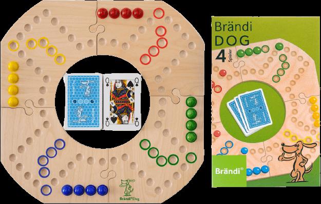 Das Spiel Brändi Dog aufgebaut mit Schachtel