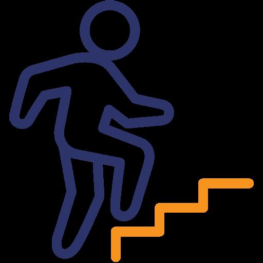 Einsteigerspiele-Icon mit Spieler*in auf der ersten Stufe