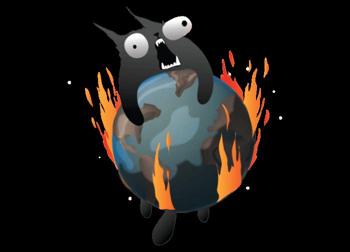Explodierende Katze auf Weltkugel