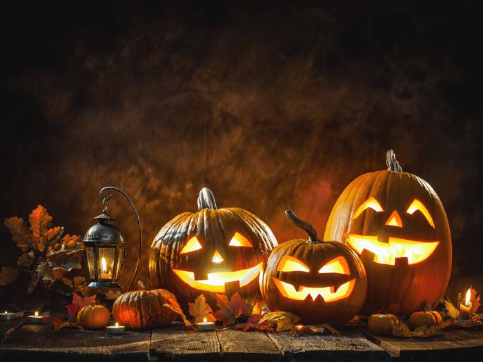 Beleuchtete Kürbis an Halloween