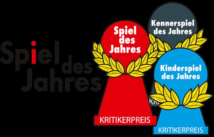 Das Logo des Vereins Spiel des Jahres mit allen drei Auszeichnungspöppeln - Spiel des Jahres - Kennerspiel des Jahres - Kinderspiel des Jahres