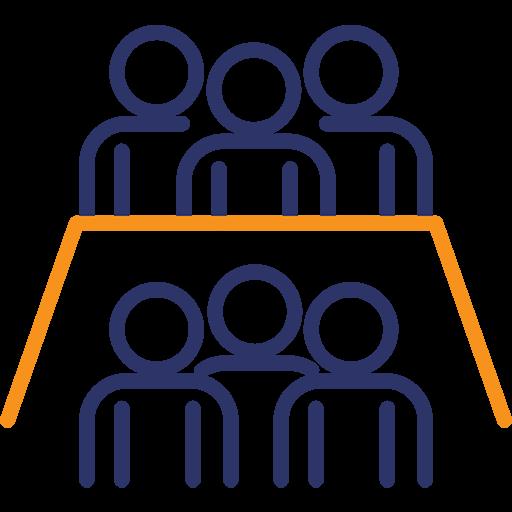 Team gegen Team-Icon mit Tisch und Teams